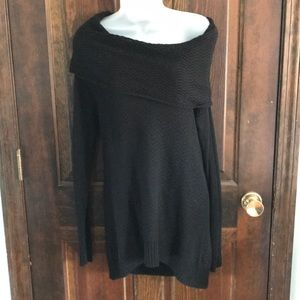 Black knit off the shoulder sweater